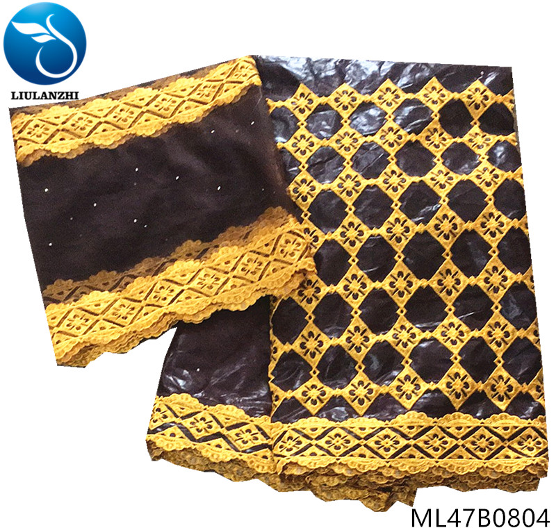 LIULANZHI cotton bazin fabric riche getzner 2019 with french lace fabric 5+2yards/lot fabric for dress high quality ML47B08LIULANZHI cotton bazin fabric riche getzner 2019 with french lace fabric 5+2yards/lot fabric for dress high quality ML47B08