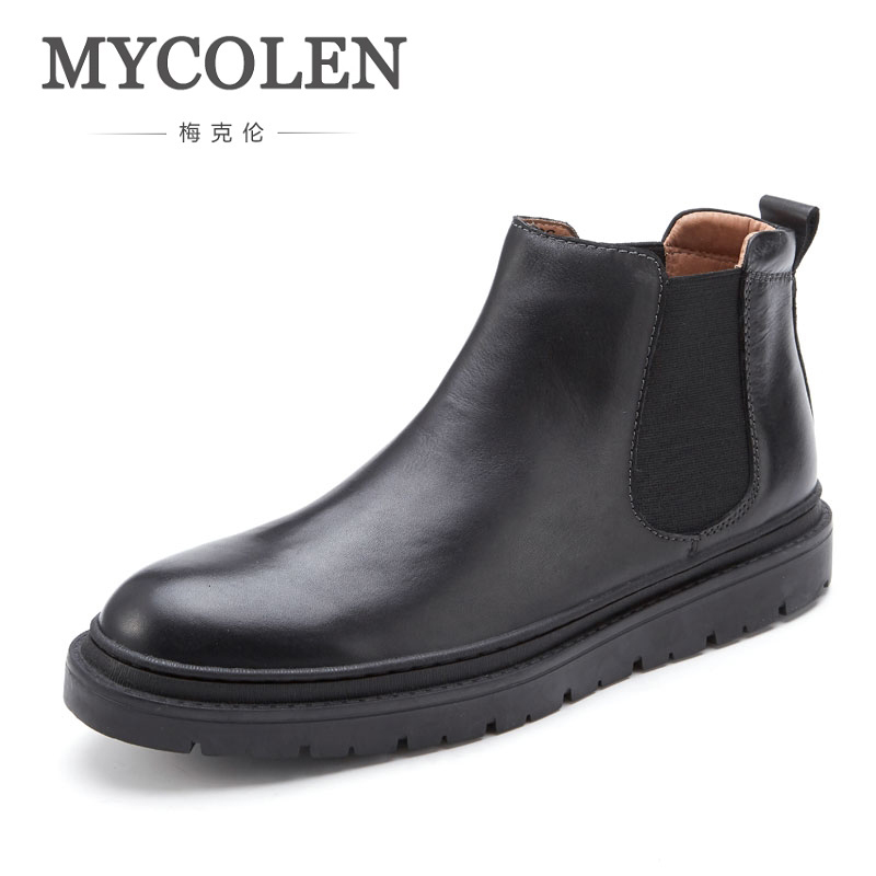 MYCOLEN Man Booties Luxury Fashion Comfort Leather Winter High Quality Black Casual Brand Mens Boots MenS Boots Leather
