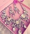 Collar cristalino de la joyería fija el collar y aretes clip de Oreja pendientes de la joyería de la boda pendientes de clip de Oreja