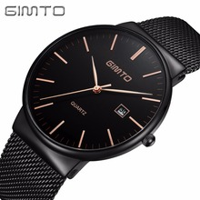 купить GIMTO Luxury Top Brand Man Watches Business Stainless Steel Watch Band Date Quartz Wristwatch Mens Waterproof Watches Men Clock дешево