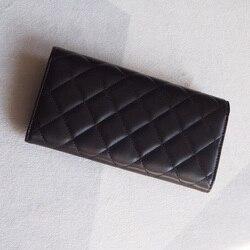 Classic women luxury lambskin real leather Wallet top quality designer brands Clutch feminine casual purse caviar Long Wallet