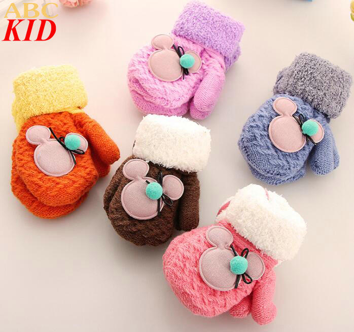 1 4T Baby Boys Girls Cartoon Mickey Knitted Gloves Infant Winter Mittens Children Boys Girls Gloves