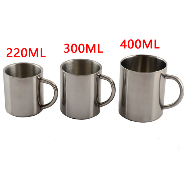 1 pz Utile 220 ml 300 ml 400 ml In Acciaio Inox Tazza Portatile Tazza A Doppia P