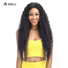 Noble Hair Products Wig 28 tum lång vågig Cosplay Elastic Kanekalon Lace Syntetisk I Part Wigs för svarta kvinnor Gratis frakt