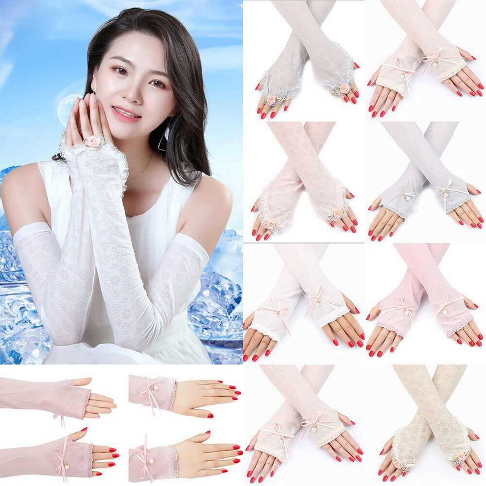 New Women Ladies Fashion Comfy Solid Lace Gloves Sunscreen Long Lace Fingerless Mittens Elastic Hot