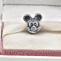 925 Sterling Silve Charms Pave Full Crystal Mickey Minne Beads Fit Pandora Bracelet Original Jewelry For