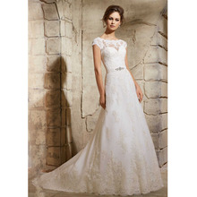 Custom Made Vestido De Noiva Vintage White/Ivory Satin Applique Buttons Sash Short Sleeve Lace Wedding Dress