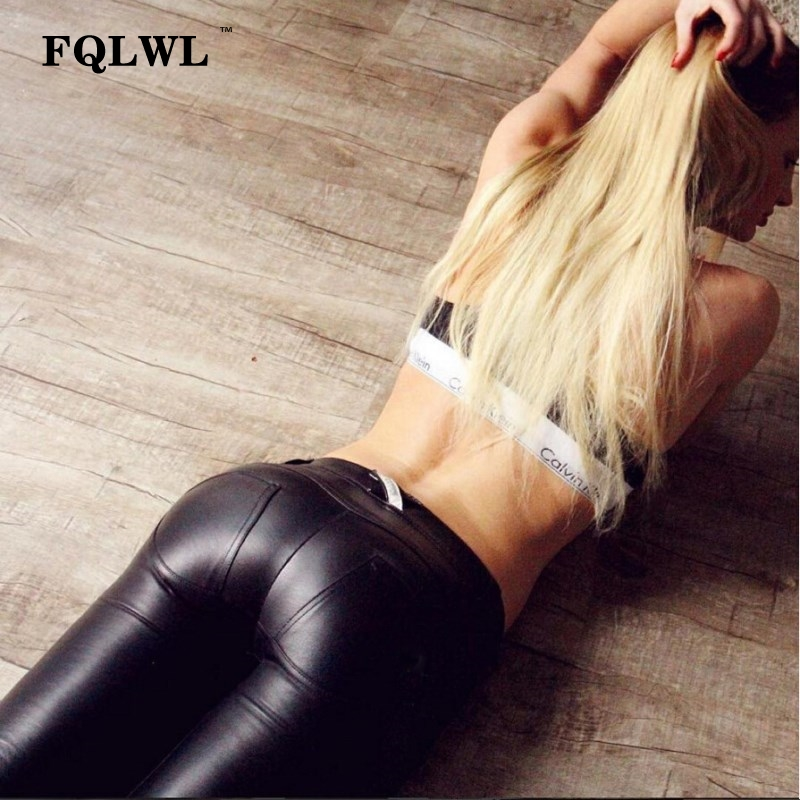 FQLWL Plus Sizes PU Leather Pants Women Elastic Waist Hip Push Up Black Sexy Female Leggings Jegging Casual Skinny Pencil Pants 4
