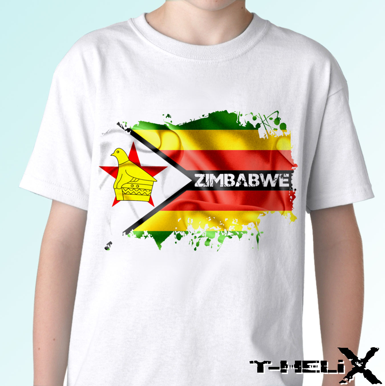 white t shirt Africa country top design Zimbabwe Flag mens womens kids baby