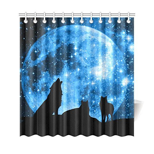 Wildlife Animal Wolves Home Decor Full Moon Night Wolf Polyester Fabric Shower Curtain Bathroom Sets