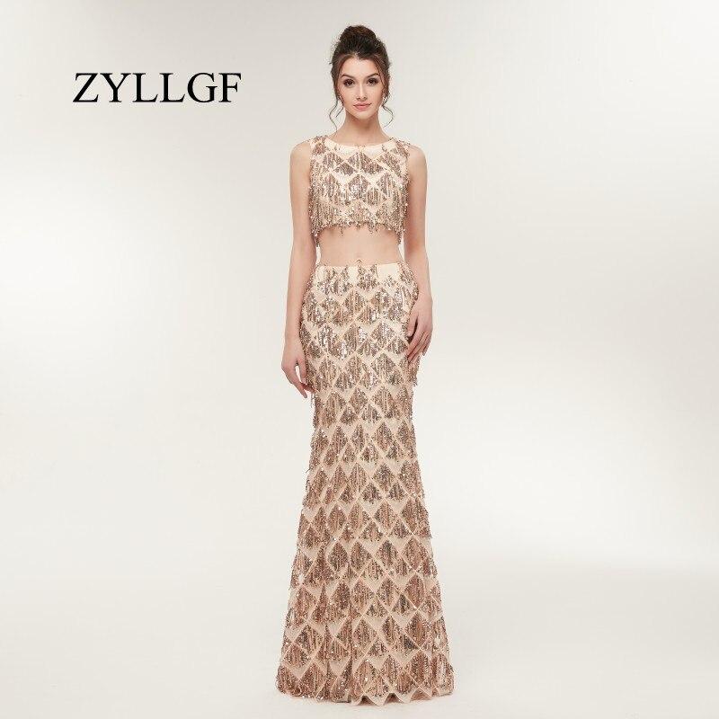ZYLLGF Sexy robes longues pour les mères sirène sans manches paillettes 2 pièces robes de fête Mutter Der Braut Kleider LFB7