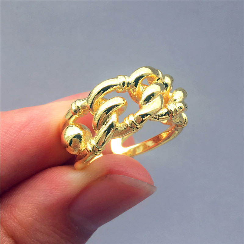 Fashion Female Yellow Gold Color Finger Ring Vintage Simple Adjustable Wedding Ring Classic Engagement Promise Rings For Women(China)