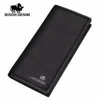 BISON DENIM Famous Brand Genuine Leather Clutch Wallet For Men Large Capacity Zipper Purse For Coins