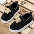 Koovan crianças shoes primavera 2017 crianças das crianças do bebê strass sapatilhas causais shoes metal cabeça meninos meninas sport shoes