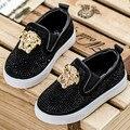 Koovan niños shoes 2017 niños del resorte niños del bebé rhinestones zapatillas causal shoes metal cabeza niños niñas sport shoes