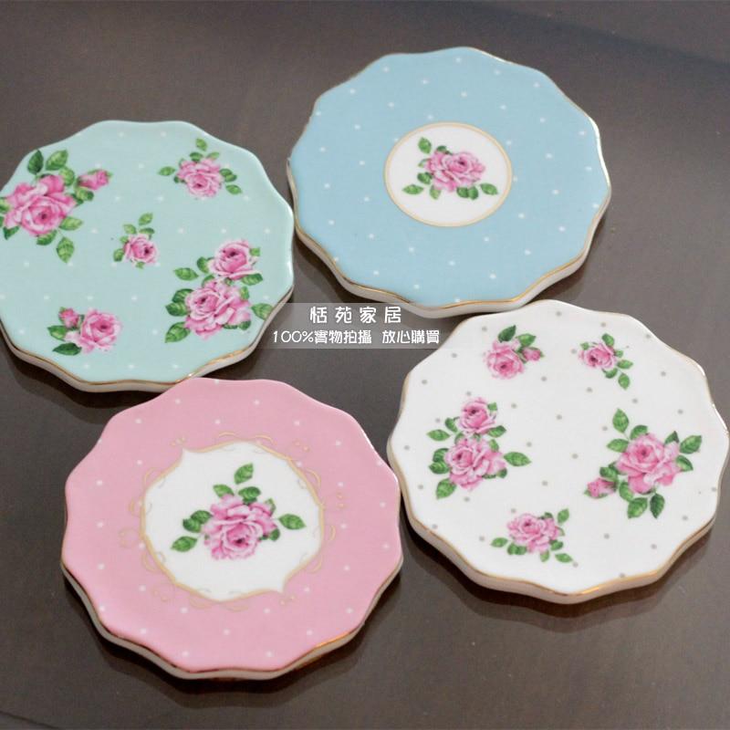 Empfehlung Ladenbesitzer Rustikale Keramik Rose Untersetzer Nette Tischsets Wärmedämmung Pads Tasse Pads 4 Teile / los Kostenloser Versand