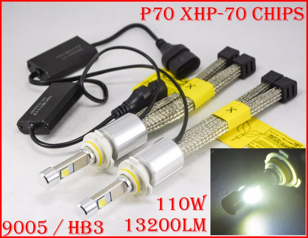 1 Set P70 LED Headlight 110W 13200LM LED Headlight XHP-70 Chips 4LED - Lampu mobil - Foto 4
