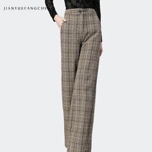 Image 3 - Trousers Women High Waist Wide Leg Pants Plus Size Wool Ladies Pants 2018 Streetwear Thick Winter Pantalon Women Plaid Pants