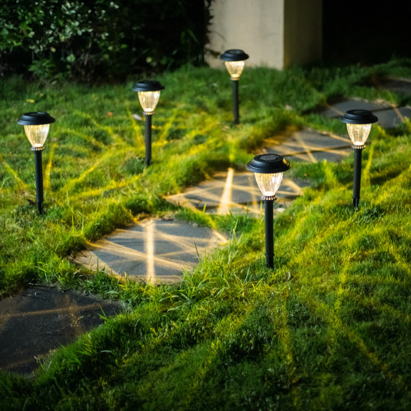 Us 45 62 Black Casing Plastic Led Solar Lawn Lamp Outdoor Garden Path Light Bollard Stick Lights Warm White In