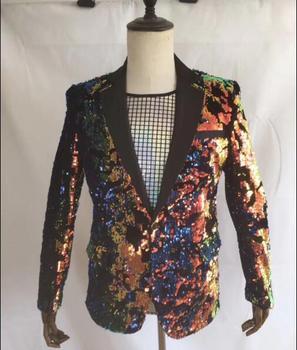 DJ Singer Outfit Nightclub Party Wear Sparkly Clothes Stage Show Slim Blazer Plus Size Multicolor Sequins Men's Jacket Male