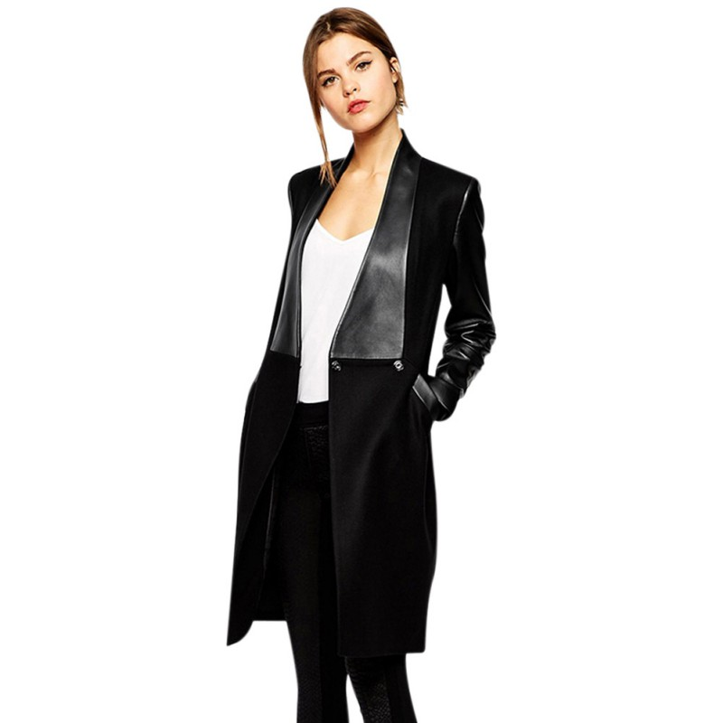 Women Jacket Long Coat 2019 Autumn Cardigan   Leather   Coat Lapel Splicing Long Sleeve Coat Winter Slim Woolen Jackets Female
