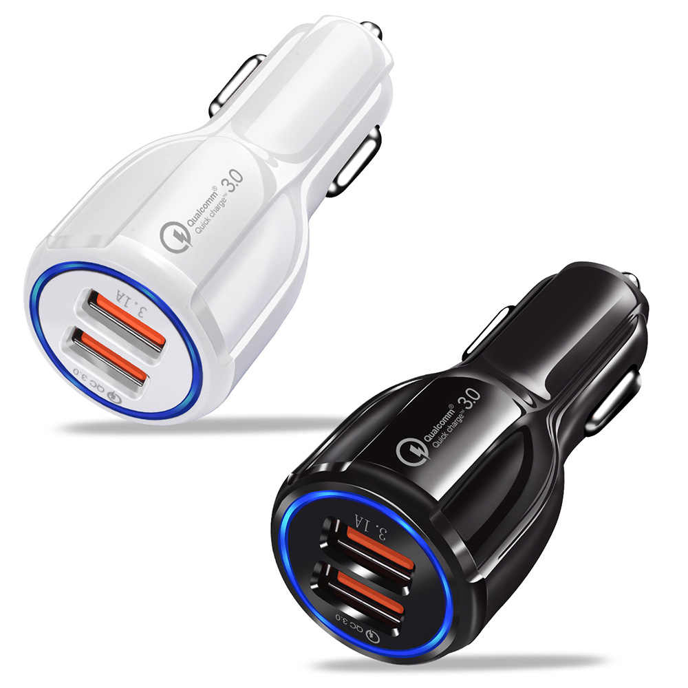 Dual USB Port Quick Charge 3.0 Car Charger Cigarette Lighter Socket Adapter QC 3.0 Fast Charge Car Accessories For Phone DVR MP3