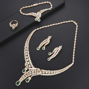 SisCathy 2019 Hot Brand 4pcs Women Wedding Jewelry Findings Making Trendy Collar Necklace/Earrings/Ring/Bracelet Jewelry Sets
