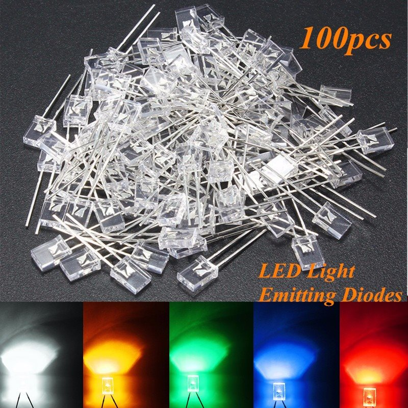 100pcs Rectangular Square LED Emitting Diodes Light LEDs Bulbs Water HU