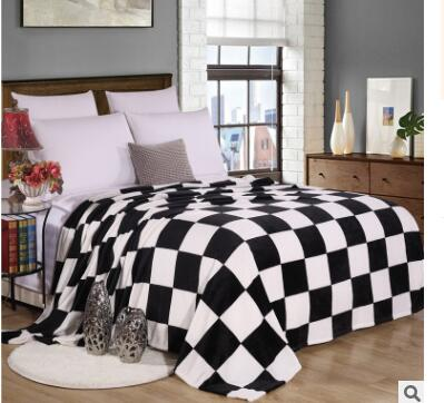 black white checked striped Coral fleece blanket deep blue stars flannel blanket single double office leisure