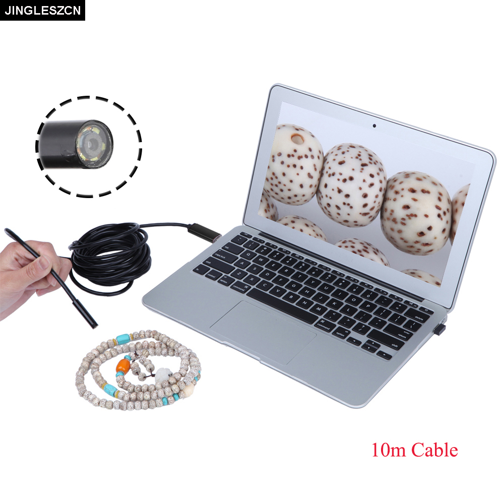 JINGLESZCN USB Endoscope 9mm Lens Dia 10m Cable Endoscopio Mini Camera Borescope Inspection Waterproof Endoskop Snake Video Cam lucog mini usb fan with led flashing light gooseneck cool time clock display usb flexible cooling fan for pc laptop notebook