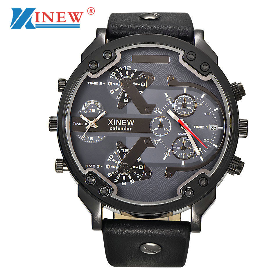 XINEW Luxury Men Casual Watch Quartz Hour Date Clock Men Sport Watches New Men's Leather Military Wrist Watch Relogio Masculino 2017 xinew brand luxury men s watch aviator white automatic mechanical date day leather band quartz wrist watch military clock
