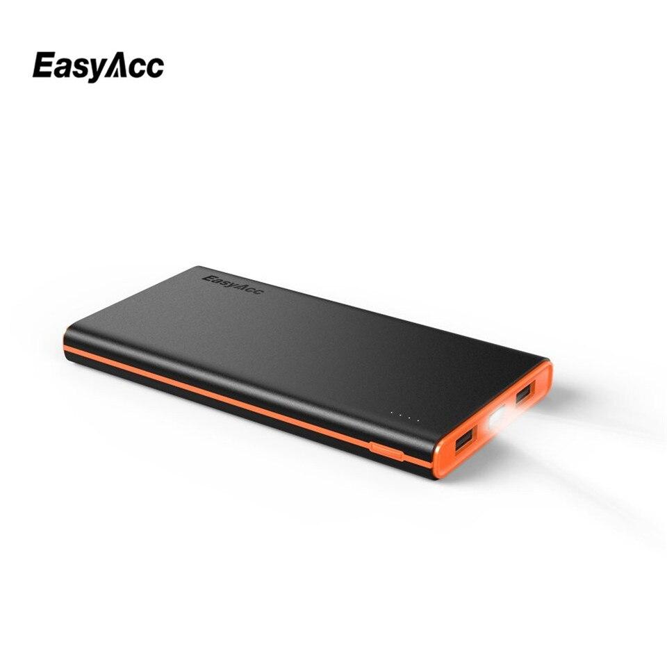 Easyacc 10000 mAh banco de potencia, portátil Delgado 10000 mAh polímero batería linterna batería externa cargador de teléfono móvil