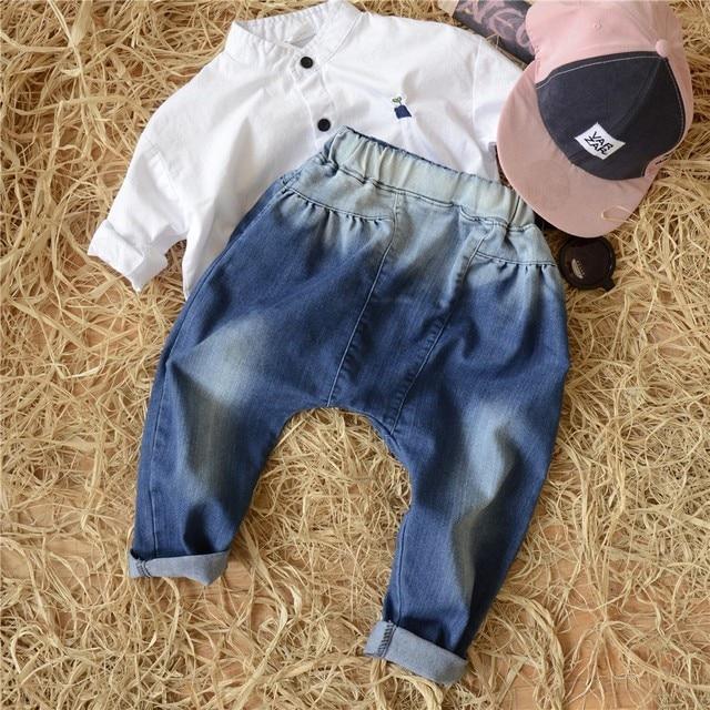 2017 Оптовая горячие весенняя мода мальчики девочки хлопок стиральная цвет джинсы