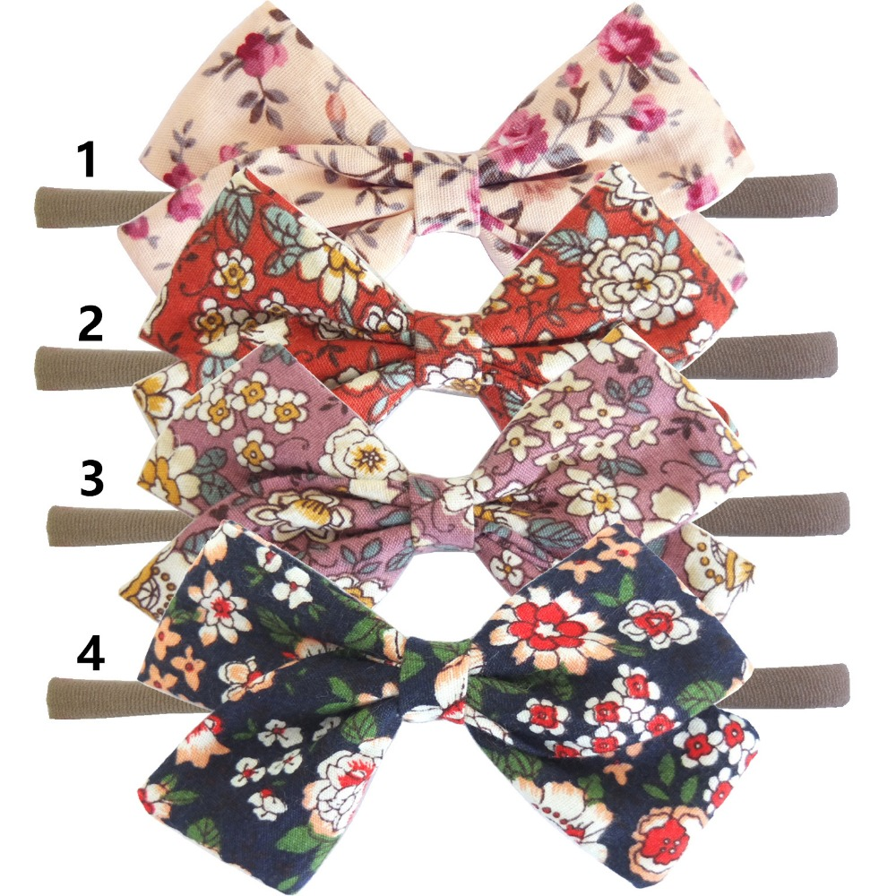 20 pcs/lot, Spring Summer Floral Bow Headbands or Hair clips , Linen Fabric Bow Nylon headband kids girls hair accessory