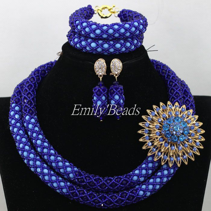 Mix Blue Bridal Jewelry Set Nigerian Wedding African Beads Jewelry Sets Indian Costume Necklace Set Free Shipping AIJ992 bright dubai jewelry sets blue african costume jewelry sets indian beads necklace set christmas boutonniere bridal party gift