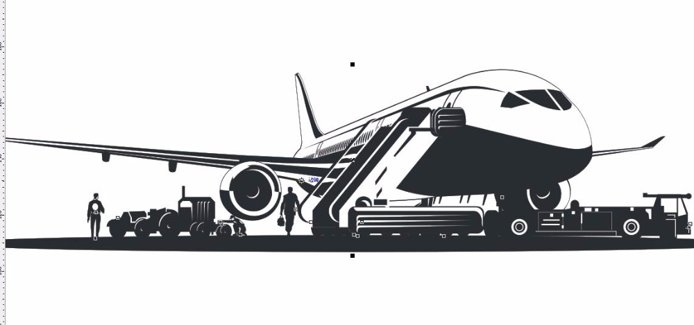 New Airplane Wall Sticker Airport Plane Mural Wall Decal Coffee Shop Sticker Office Bedroom Living Room Decoration