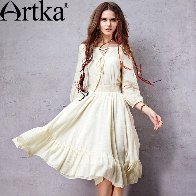 de697f3951 Artka Women s Spring Exclusive Custom Bohemian Dress V-neck Lantern Sleeve  Knee-length Perforated