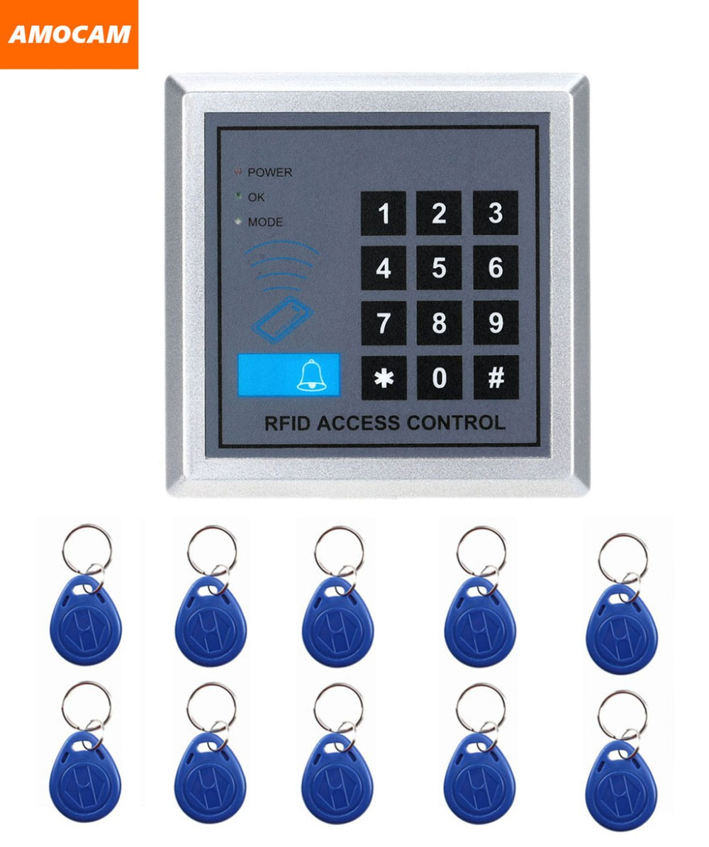 Electronic RFID Proximity Entry Door Lock Access Control System with 10 Key Fobs support 250 User Home Offices Security System rfid standalone access control keypad 125khz card reader door lock with 10 proximity key fobs for door security system k2000