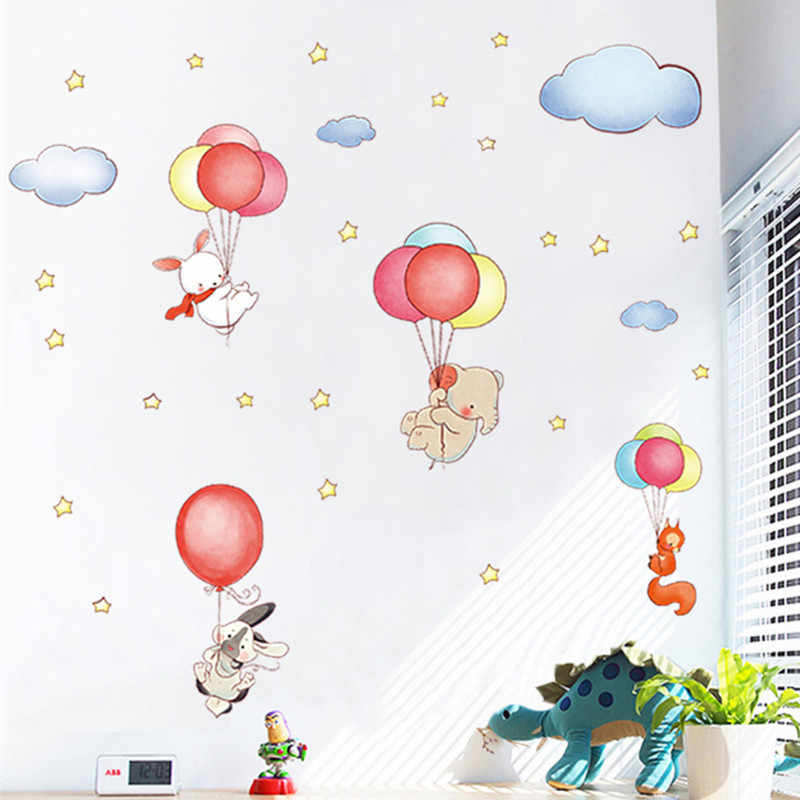 Cartoon diy animal balloons cloud wall stickers elephant rabbit fox stars room decor baby bedroom decorate children room decals