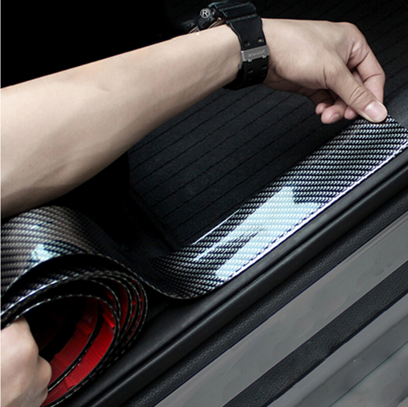 Carbon Fiber Rubber Car Styling Door Sill Protector For Honda Civic Accord CRV Fit Renault Peugeot 307 206 407 308 406 Citroen-in Car Stickers from Automobiles & Motorcycles