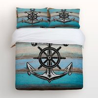 4 Piece Bed Sheets Set, Nautical Anchor Rudder with Rustic Old Barn Wood Print, 1 Flat Sheet 1 Duvet Cover and 2 Pillow Cases