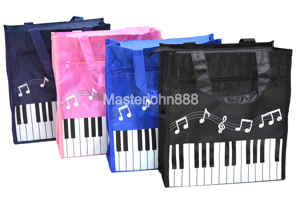 Music Piano Keyboard Music Note Oxford Bag With Zipper Outta Pocket Handbag Shopping Bag Free Shipping