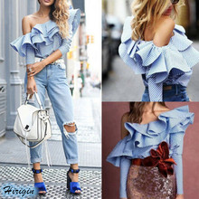 Summer Women Tops HOT Casual Long Sleeve Single Off Shoulder Ruffles Loose Striped