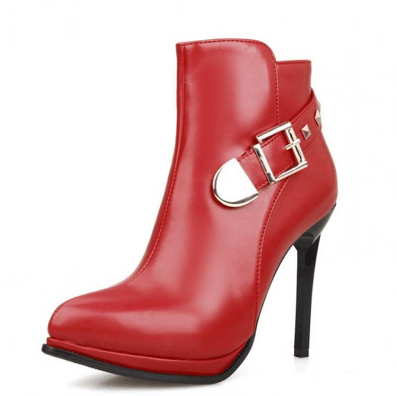 ФОТО arrival autumn ankle boots red wedding Buckle shoes boots straps party dress shoes sexy pointed toe rivets Martin boots