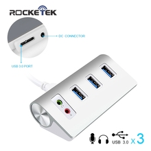 Rocketek USB Aluminum HUB Usb 3 0 with 3 ports and 3 5mm audio cable for