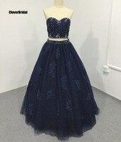 Кристаллы камни бисера Lace Up Top комплект из двух предметов Темно Синий Пышное Платье бальный наряд 15 лет с кружевной аппликацией Свадебные пл