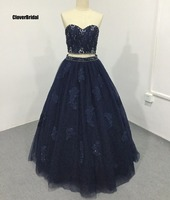 Crystals stones beaded lace up top two piece navy blue quinceanera dresses ball gown 15 years old lace appliques vestidos de
