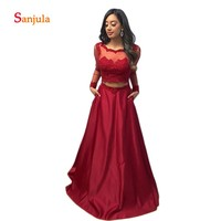 Long Sleeve Dark Red Prom Dresses 2019 Scoop A Line Crop Top Sexy Graduation Dresses with Pockets Skirt Prom Gowns Long D823