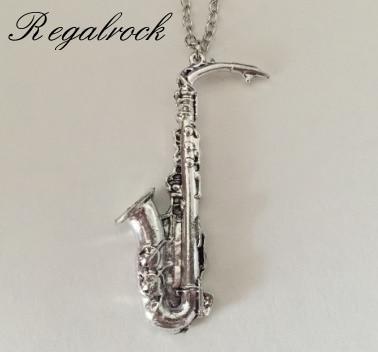 Regalrock саксофон музыкальные инструменты кулон в виде саксофона Цепочки и ожерелья