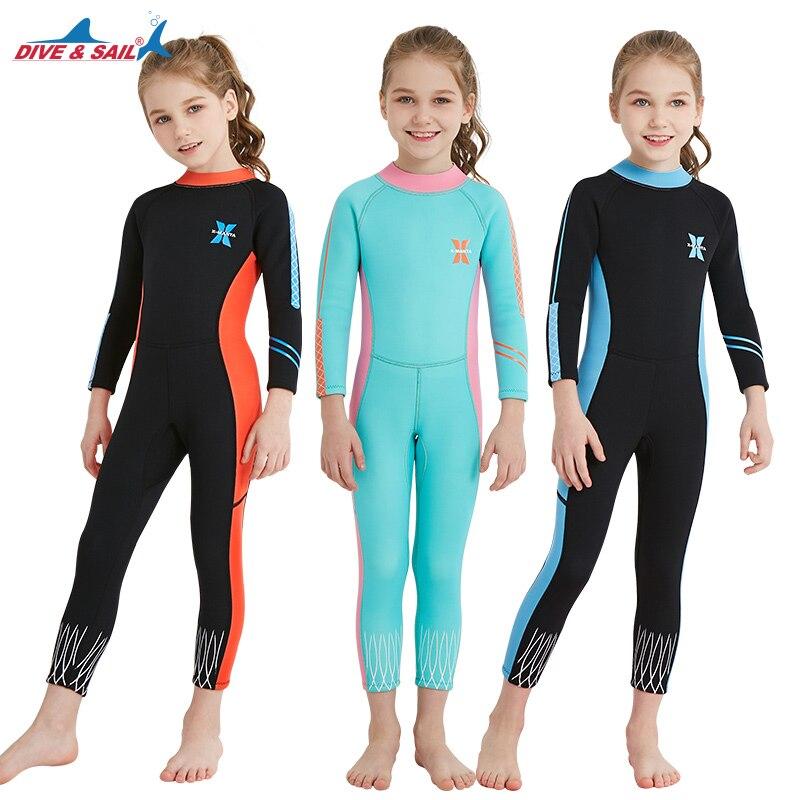 2018 plongée & voile enfants combinaison complète plongée surf sports nautiques combinaisons Junior filles 2.5 MM dos Zip manches longues maillot de bain combinaison humide